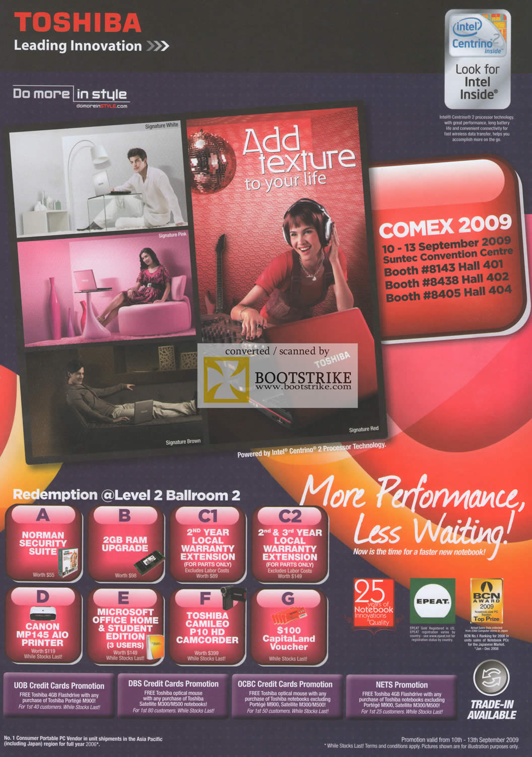 Comex 2009 price list image brochure of Toshiba Redemption Options Promotions