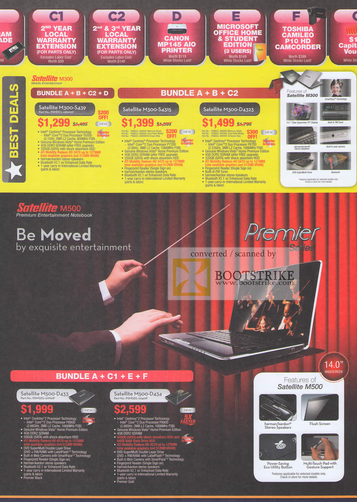 Comex 2009 price list image brochure of Toshiba Satellite Notebook M300 M500