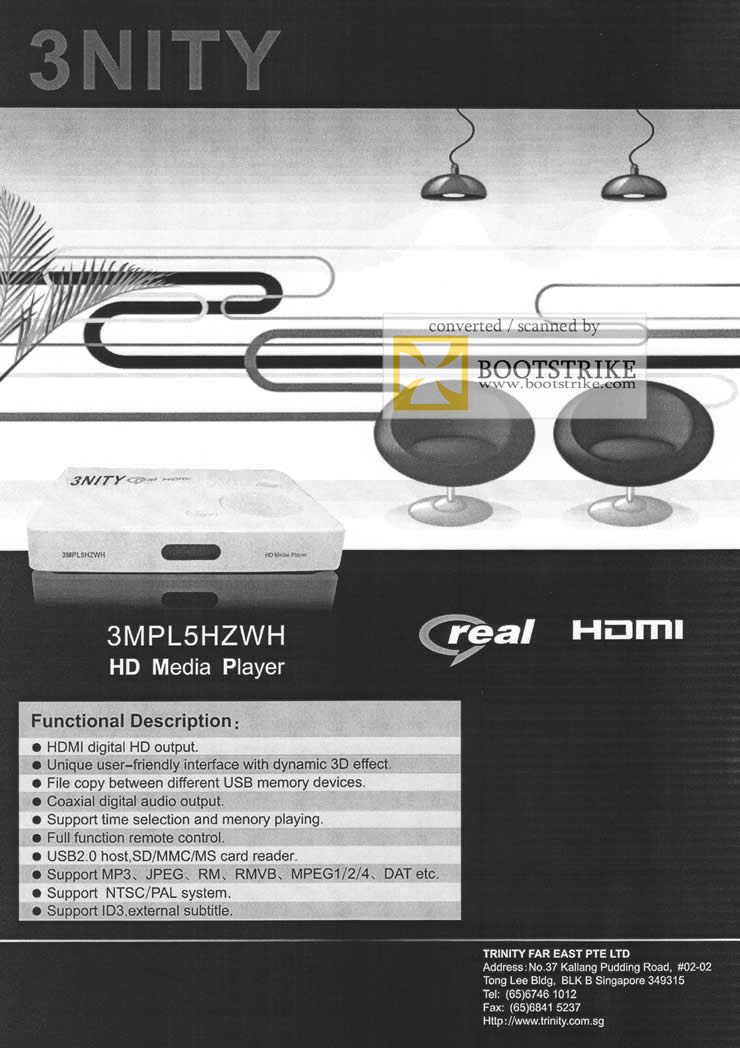 Comex 2009 price list image brochure of Trinity 3nity 3MPL5HZWH HD Media Player Real HDMI