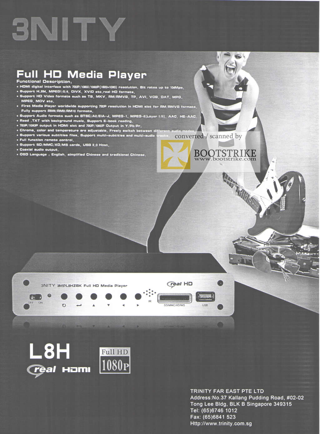Comex 2009 price list image brochure of Trinity 3nity Media Player L8H Real HD