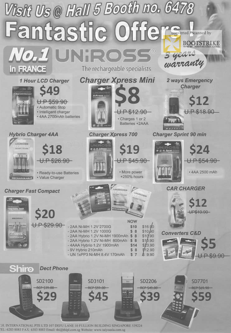 Comex 2009 price list image brochure of Uniross LCD Charger Hybrid Xpress Shiro Dect Phone