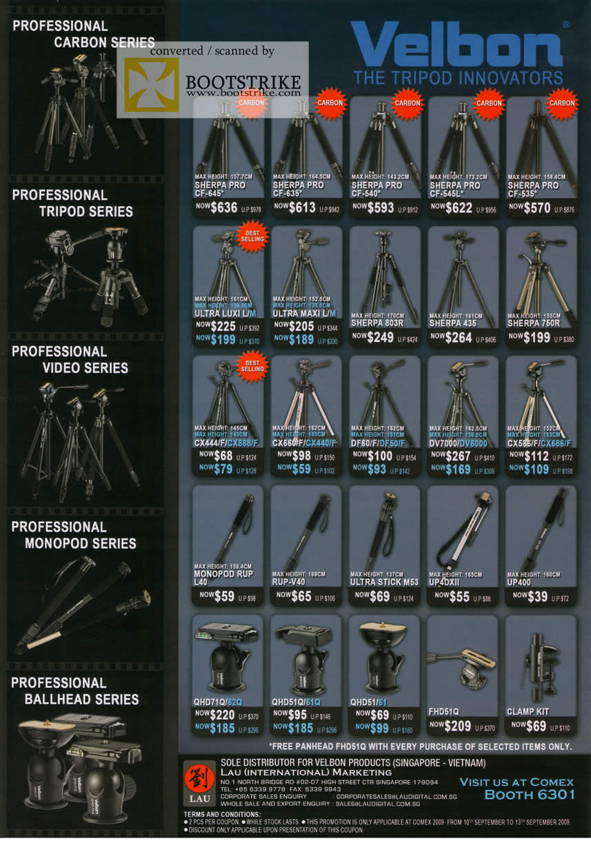 Comex 2009 price list image brochure of Velbon Carbon Tripod Video Monopod Ballhead