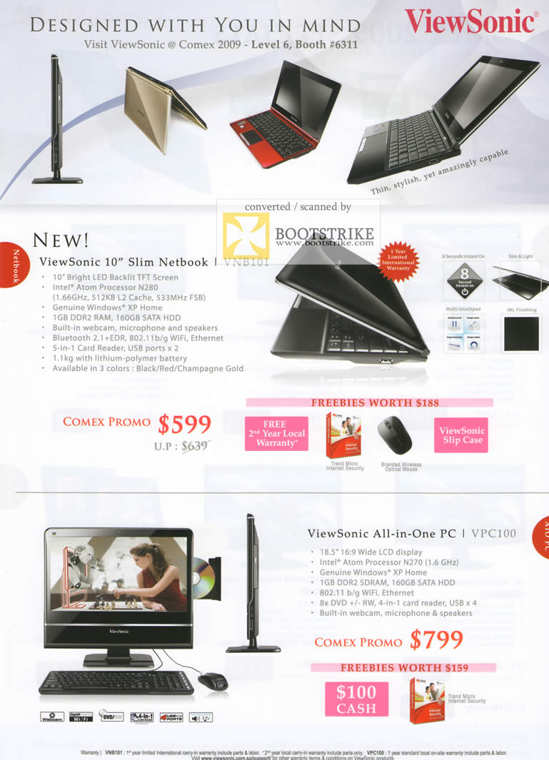 Comex 2009 price list image brochure of Viewsonic Netbook VNB101 All-In-One PC VPC100