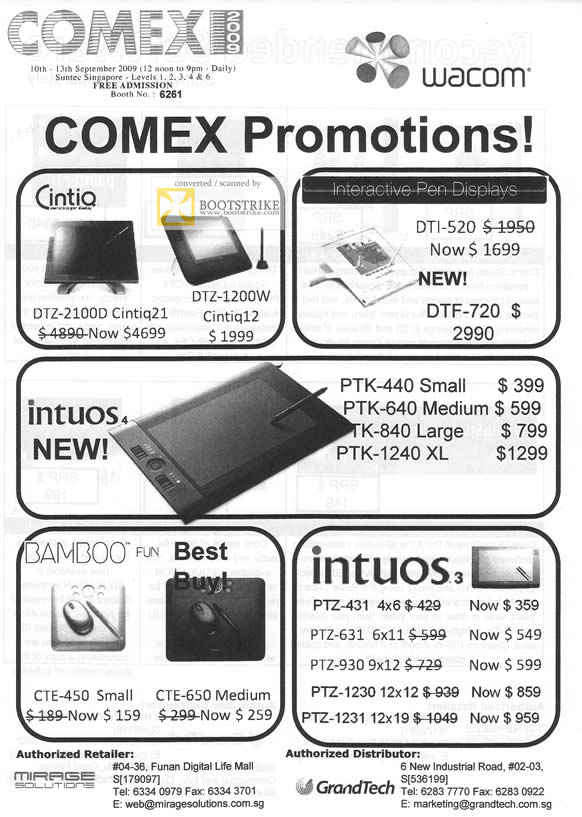 Comex 2009 price list image brochure of Wacom Cintiq Intuos Bamboo DTZ DTI PTK PTZ CTE
