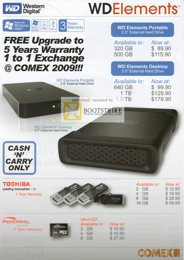 Comex 2009 price list image brochure of Western Digital Elements Portable Desktop Toshiba PenDrive
