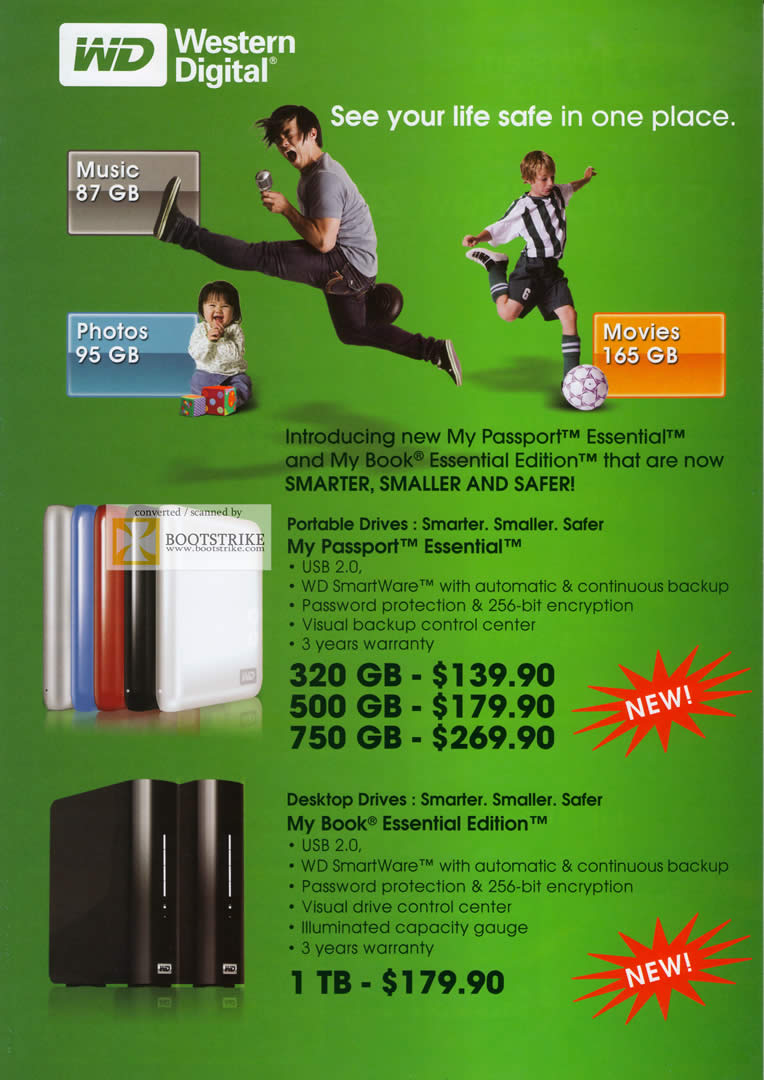 Comex 2009 price list image brochure of Western Digital WD My Passport Essential Book