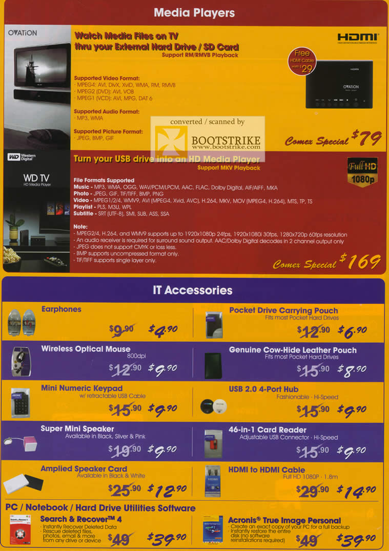 Comex 2009 price list image brochure of Western Digital WD Ovation Media Player WD TV Accessories Acronis