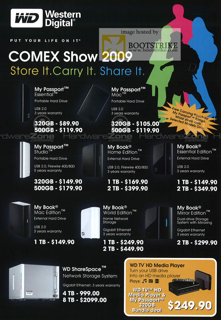 Comex 2009 price list image brochure of Western Digital WD Passport Book ShareSpace TV HD Media Player