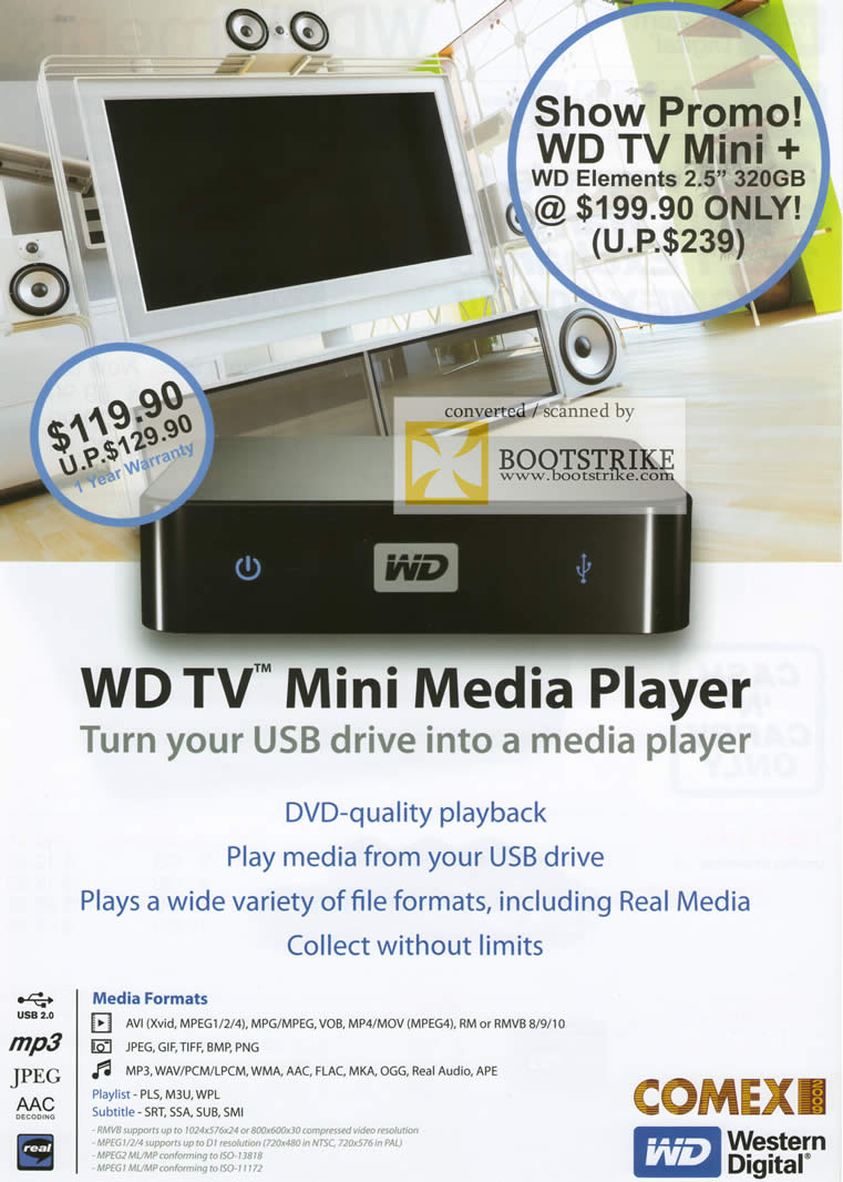 Comex 2009 price list image brochure of Western Digital WD TV Mini Media Player USB