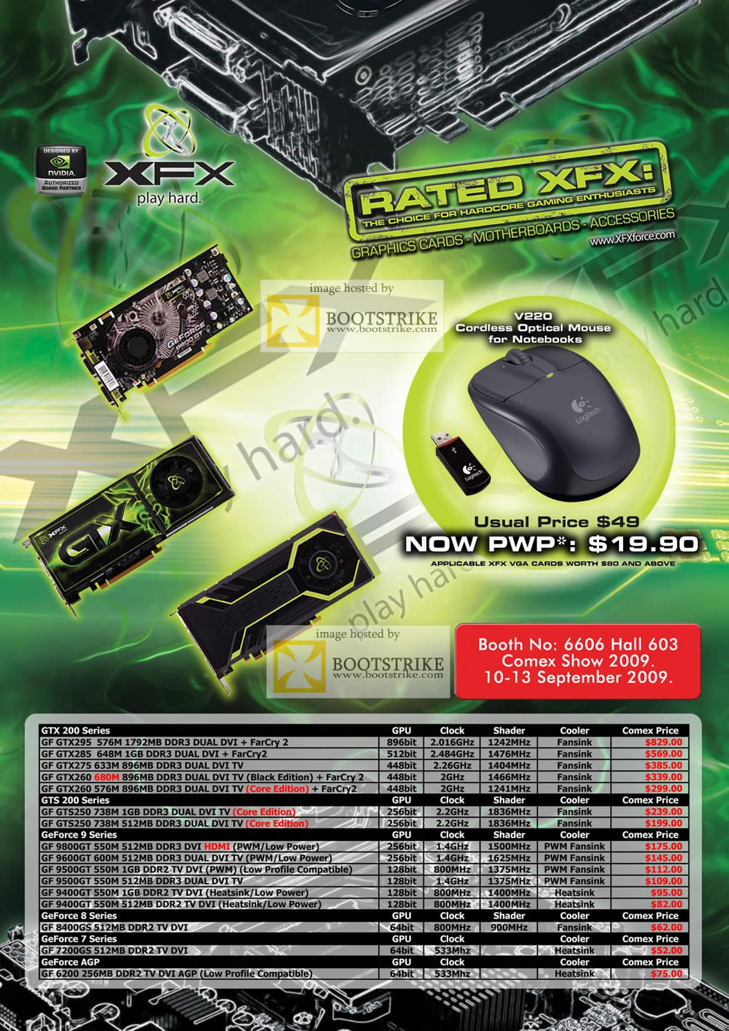 Comex 2009 price list image brochure of XFX Nvidia Geforce GTX 200 9 8 7 6 Series AGP PCI Express