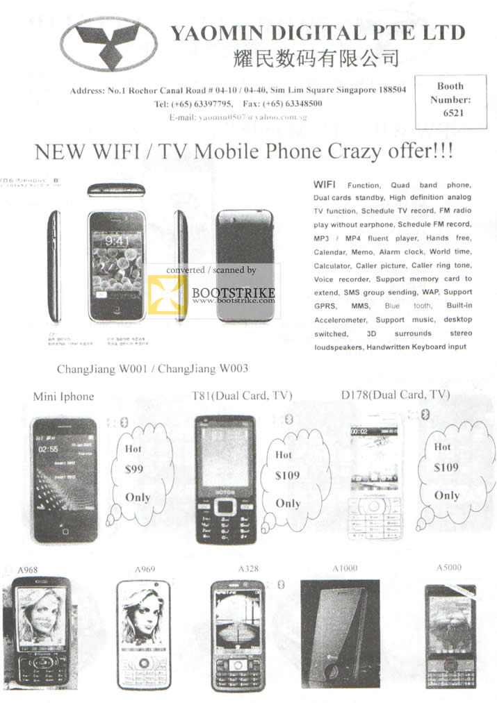 Comex 2009 price list image brochure of Yaomin ChangJiang Mobile Phone W001 W003 A968 A969 A128 A1000 A5000