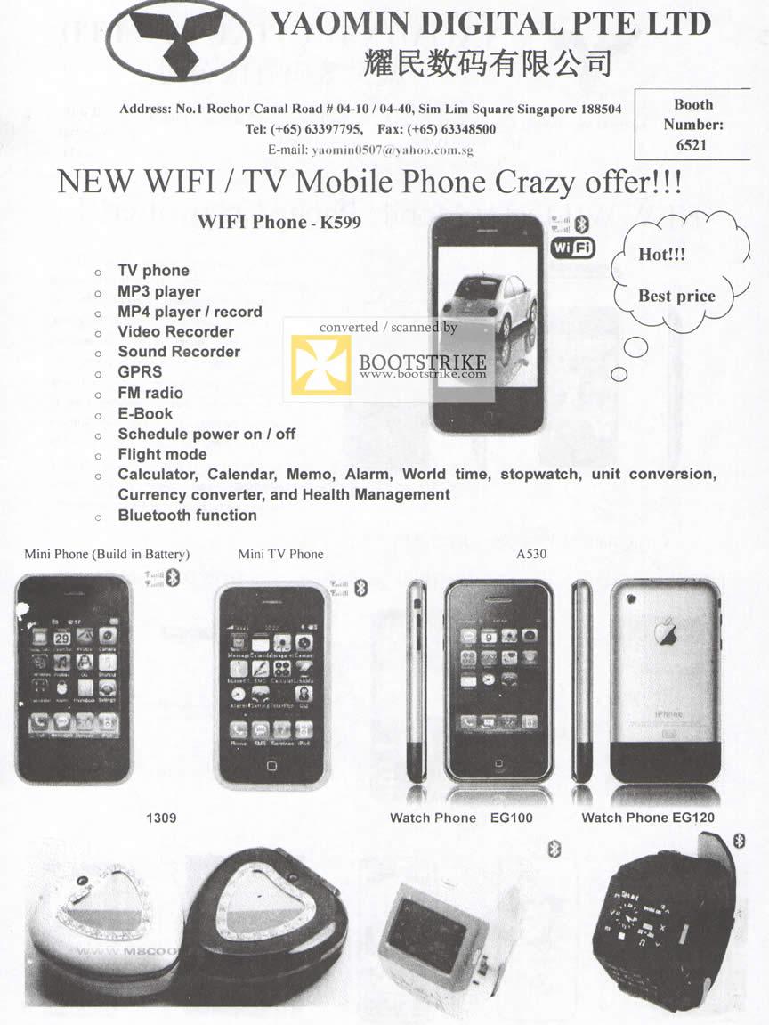 Comex 2009 price list image brochure of Yaomin Mobile Phone K599 1309 EG100 EG120
