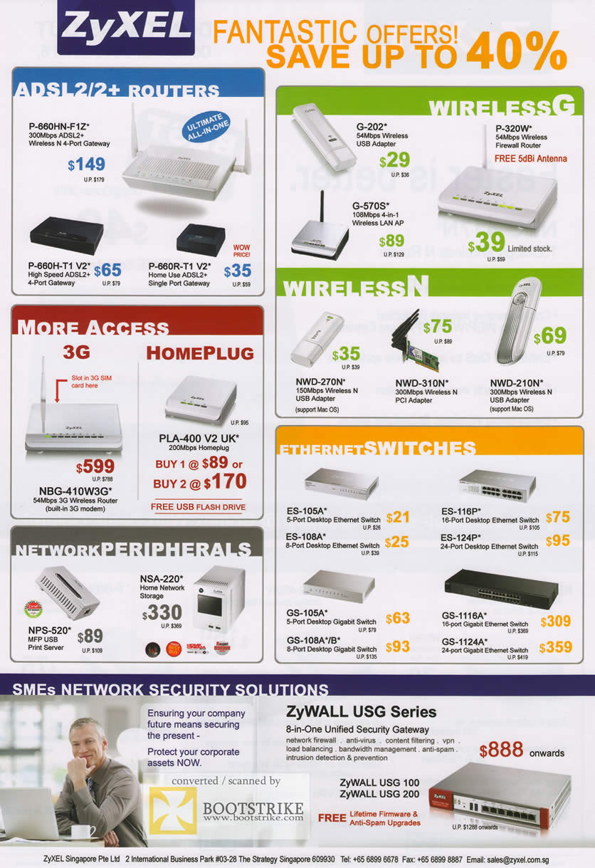 Comex 2009 price list image brochure of ZyXEL ADSL Routers Wireless 3G HomePlug Wireless N Ethernet