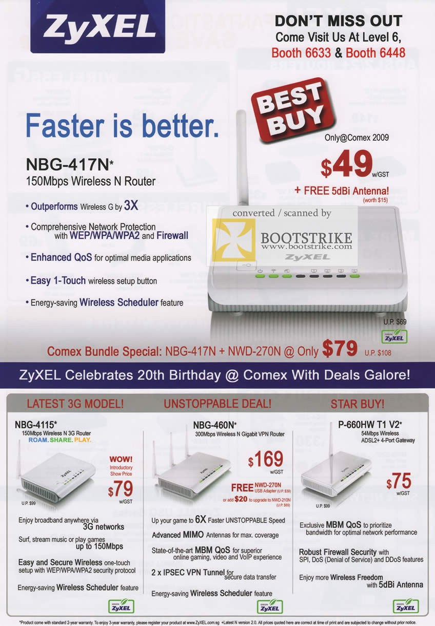 Comex 2009 price list image brochure of ZyXEL NBG-417N Wireless N Router 4115 450N P-660HW ADSL2 3G Gigabit VPN