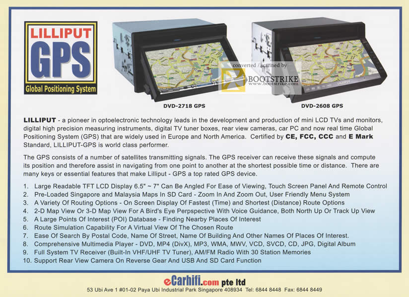 Comex 2009 price list image brochure of ECarhifi Lilliput GPS DVD-2718 DVD-2608