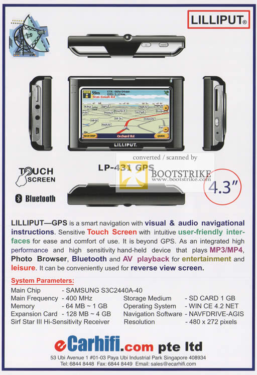 Comex 2009 price list image brochure of ECarhifi Lilliput GPS LP-431