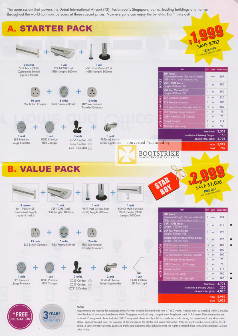 Comex 2009 price list image brochure of Eubiq Power Outlet System Starter Value B2022