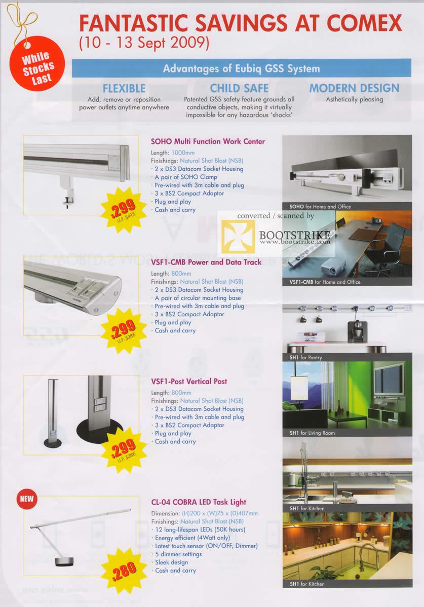 Comex 2009 price list image brochure of Eubiq Power Outlet System Work Center Vertical Post LED Task Light B2022