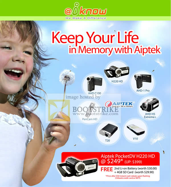 Comex 2009 price list image brochure of IKnow Aiptek AHD HD Video Camcorders PenCam H5 Extreme AHD Pro