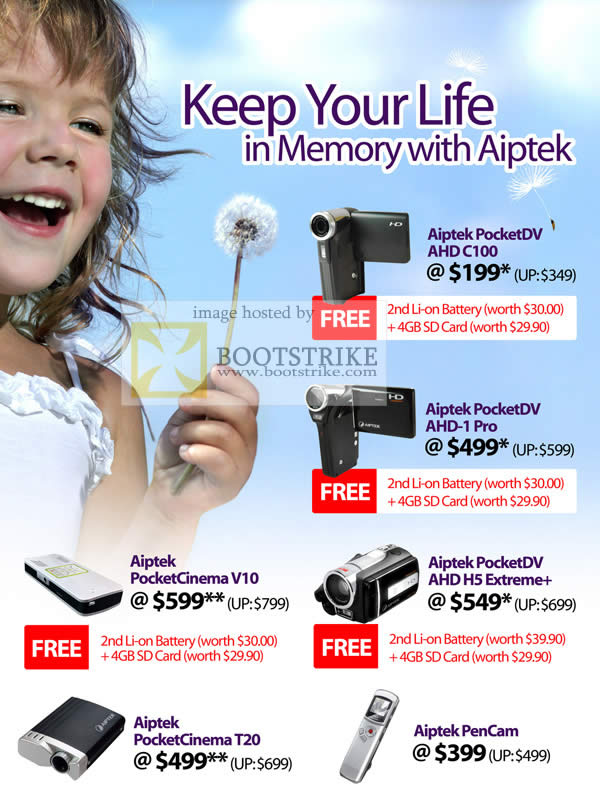 Comex 2009 price list image brochure of IKnow Aiptek PocketDV PocketCinema PenCam AHD V10 T20 H5