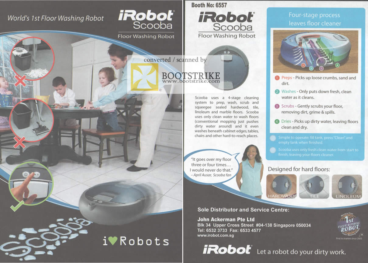 Comex 2009 price list image brochure of IRobot Scooba Floor Washing Robot IRobots