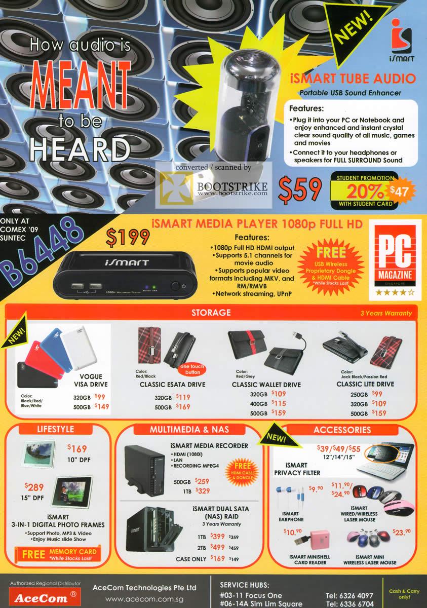 Comex 2009 price list image brochure of ISmart Media Player Storage NAS Accessories Digital Photo Frame