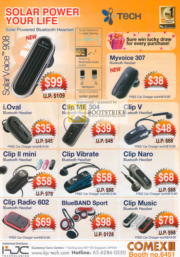 Comex 2009 price list image brochure of ITech Bluetooth Headset Solar Voice 908 Clip