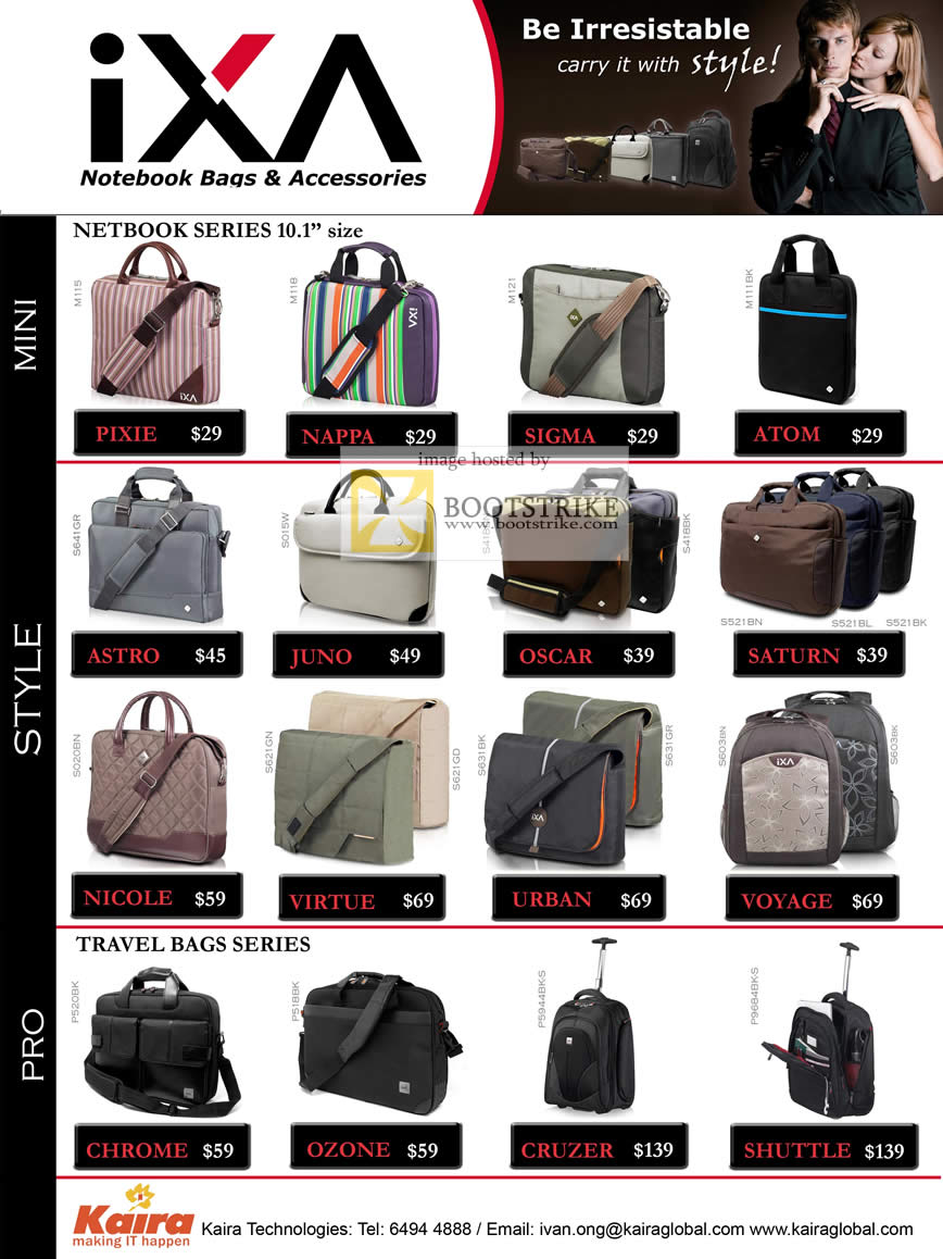 Comex 2009 price list image brochure of IXA Notebook Bags Netbook Travel Bags Series