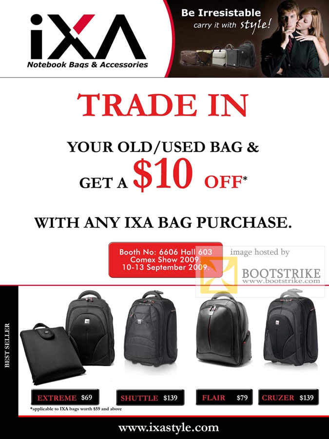 Comex 2009 price list image brochure of IXA Notebook Bags Trade In Extreme Shuttle Flair Cruzer