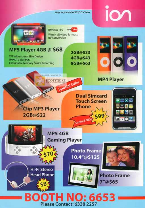 Comex 2009 price list image brochure of Ion MP5 Player Mp4 Clip Mp3 Dual Simcard Digital Photo Frame