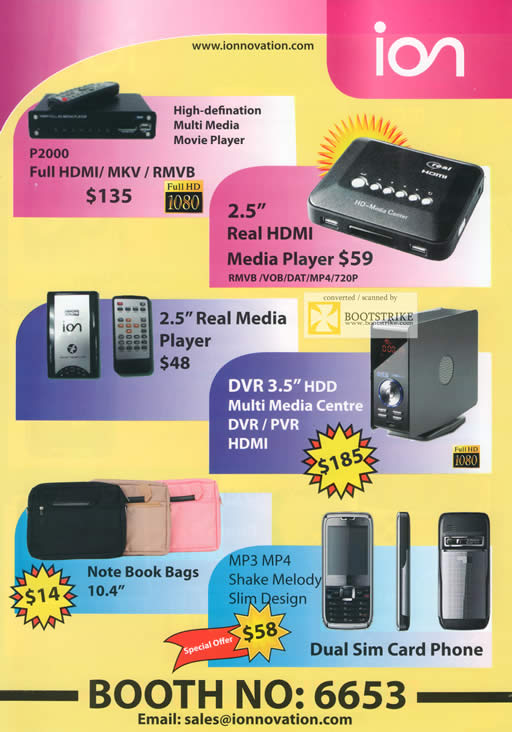 Comex 2009 price list image brochure of Ion Movie Player P2000 Real Media DVR PVR Bags