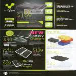 MiVeo Media Player MP380 EPA 4HB 2HE Solar Battery Chargers