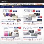 Cybershot Digital Cameras TX1 WX1 T90 W210