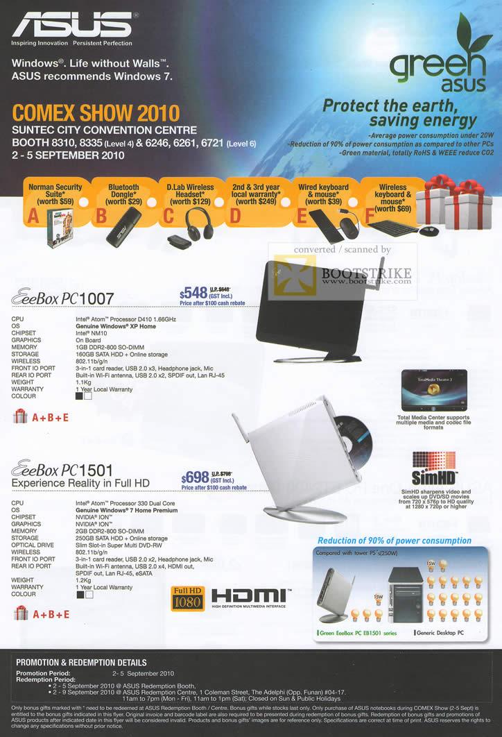 Comex 2010 price list image brochure of ASUS Nettop EeeBox PC1007 PC1501 SimHD