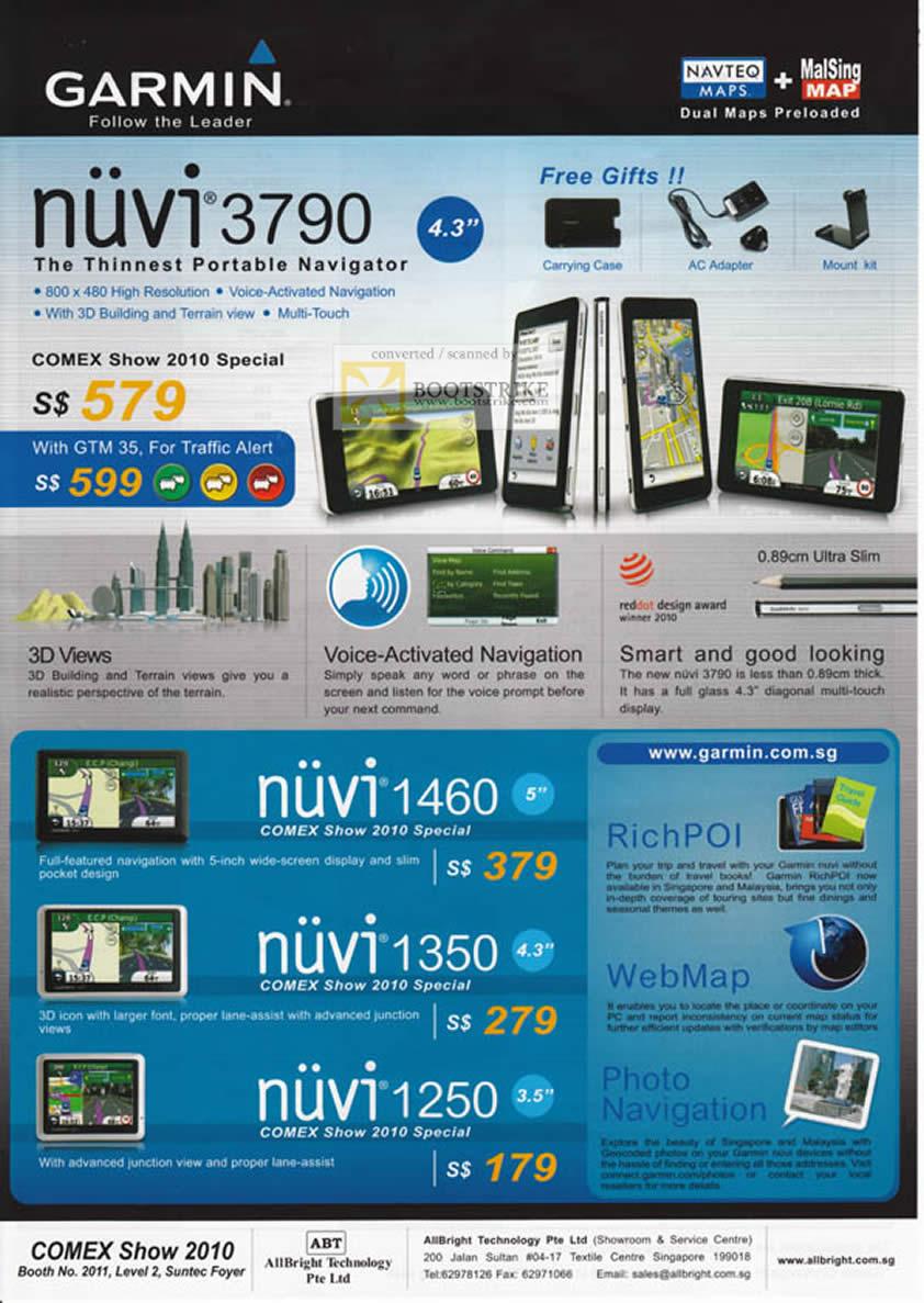 Comex 2010 price list image brochure of AllBright Tech Garmin GPS Nuvi 3790 1460 1350 1250 Rich POI WebMap Junction View 3D