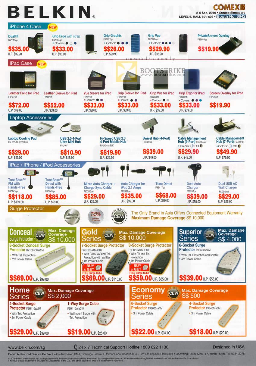 Comex 2010 Price List Image Brochure Of Belkin IPhone 4 Case IPad Laptop Accessories IPod Cooling
