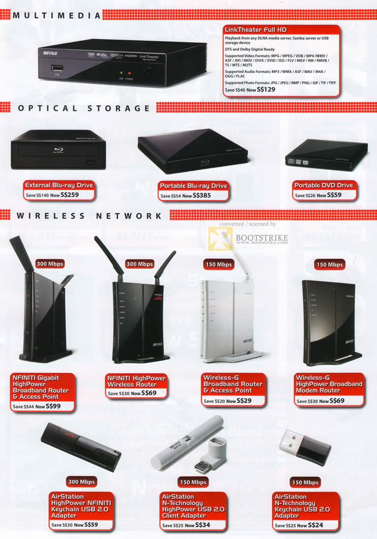 Comex 2010 price list image brochure of Buffalo Media Player LinkTheater External Blu Ray DVD Portable Drive Nfiniti Gigabit Router HighPower Modem Adapter