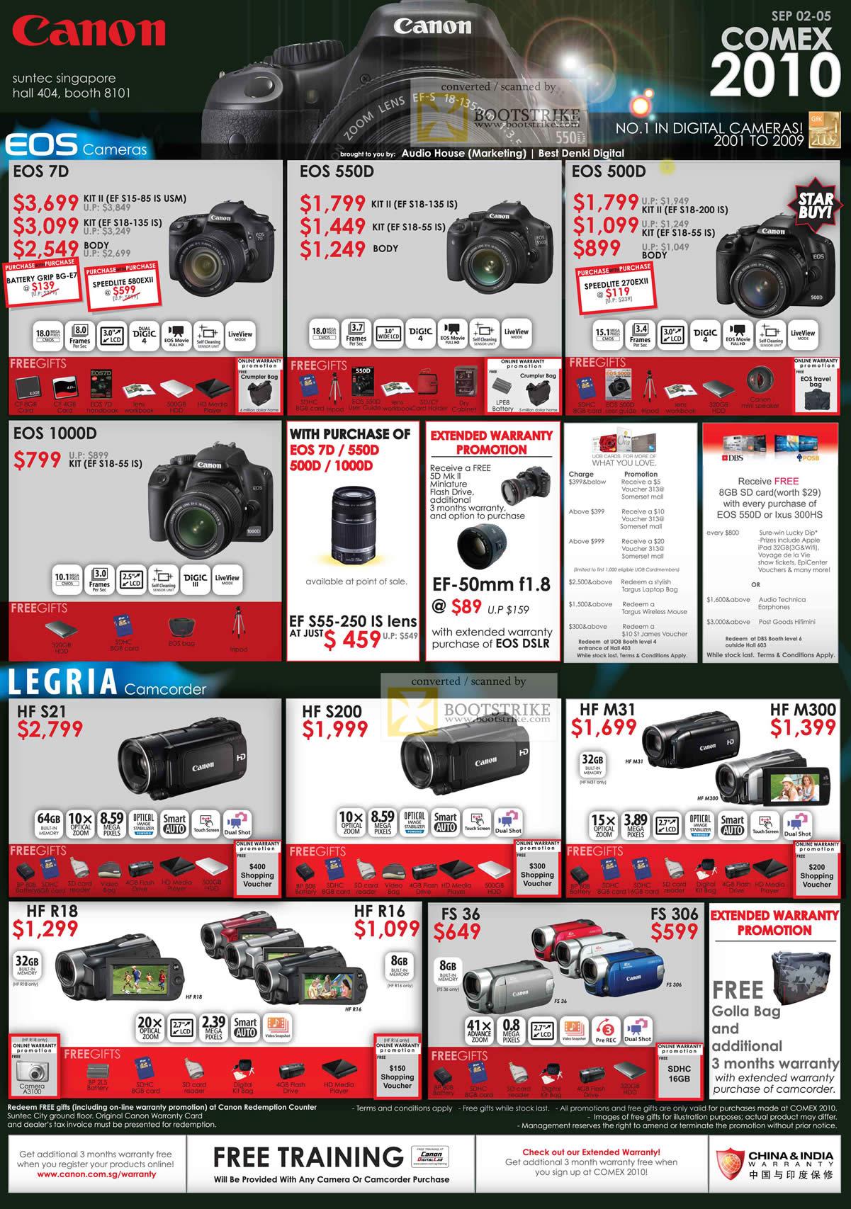 Camera Canon 1000d Dslr Camera Price canon dslr digital cameras eos 7d 550d 500d 1000d legria camcorder comex 2010 price list image brochure of 1000d