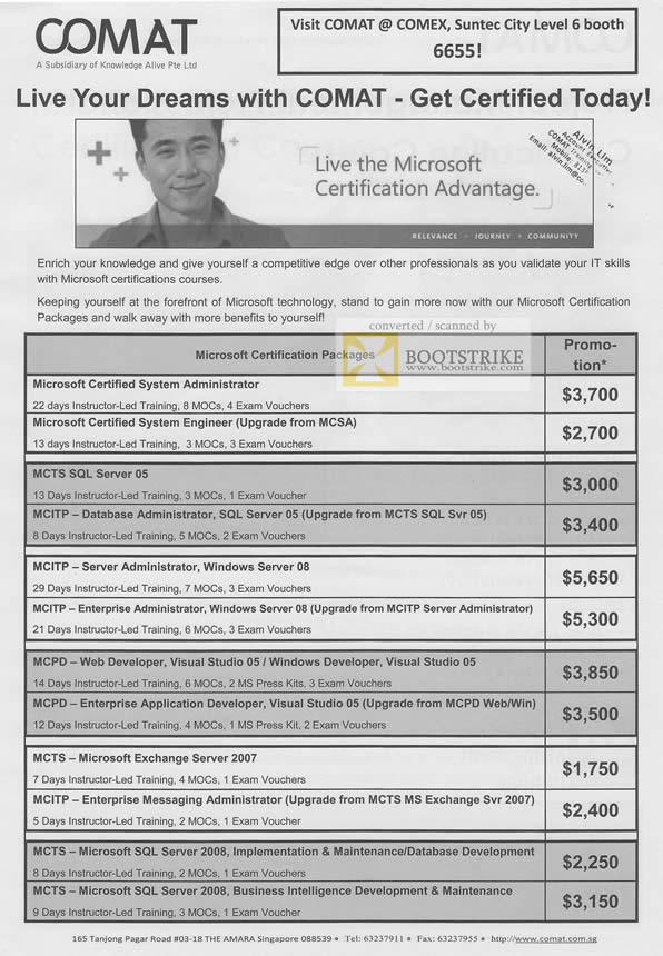 Comex 2010 price list image brochure of Comat Certification Training Microsoft MCSA MCTS MCITP MCPO