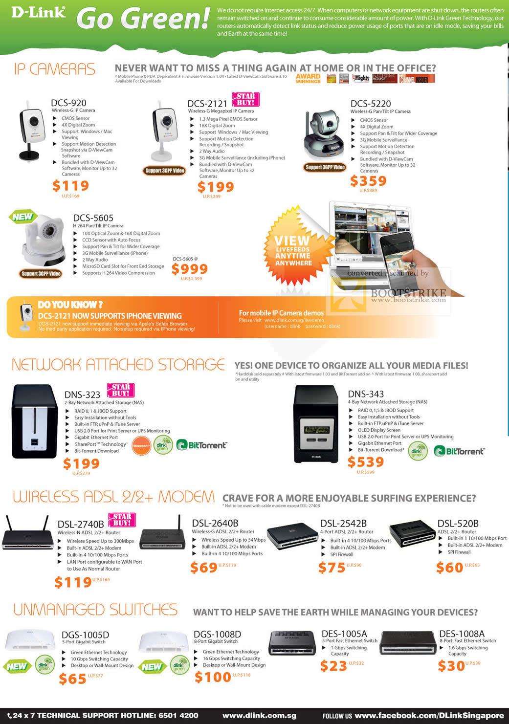 Comex 2010 price list image brochure of D Link IPCam DCS 920 2121 5220 5605 NAS DNS 323 343 Wireless ADSL Modem DSL 2740B 2640B 2542B 520B Switches
