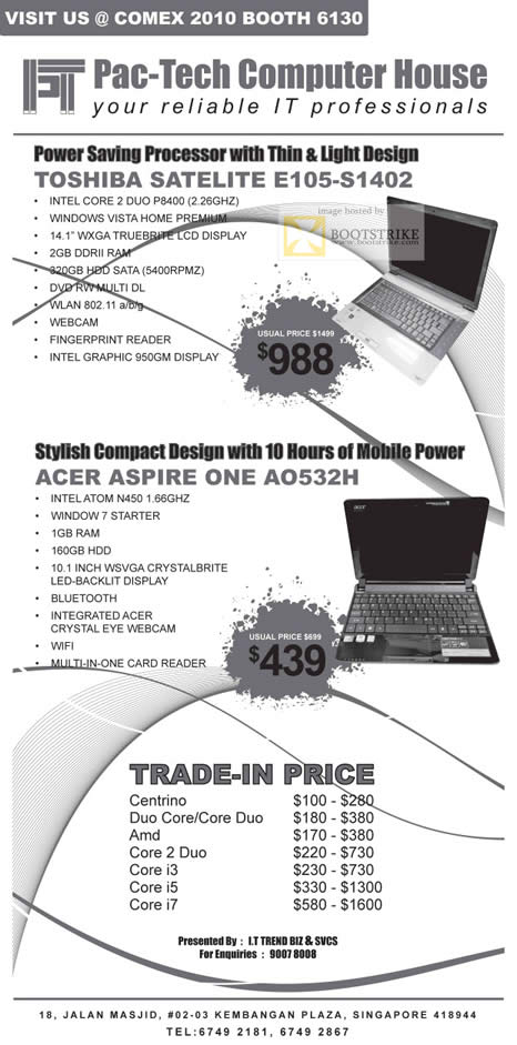 Comex 2010 price list image brochure of ECom Notebooks Toshiba Satellite E105 Acer Aspire One AO532H Trade In