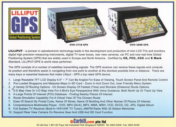 Comex 2010 price list image brochure of Ecarhifi Lilliput GPS System DVD 2718 2608