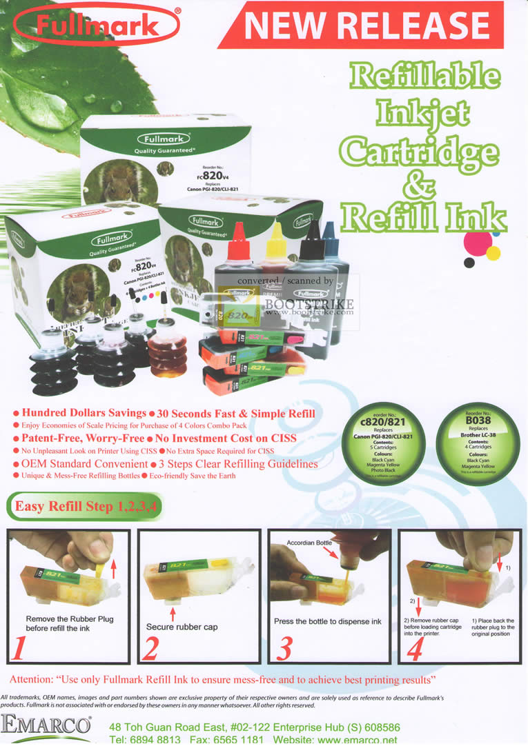 Comex 2010 price list image brochure of Emarco Fullmark Refillable Inkjet Cartridge Refill Ink B6458