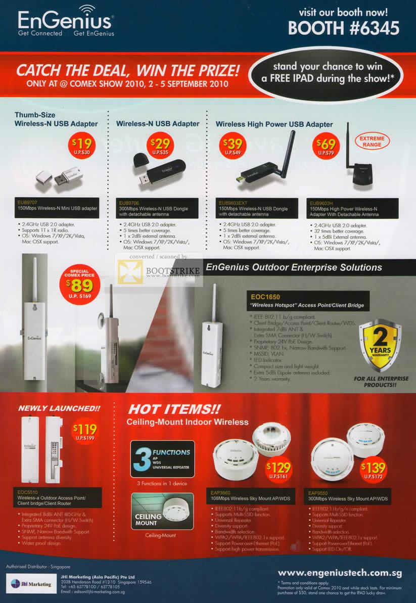 Comex 2010 price list image brochure of Engenius Wireless N USB Adapter High Power Ceiling Mount Indoor EOC1650 Hotspot