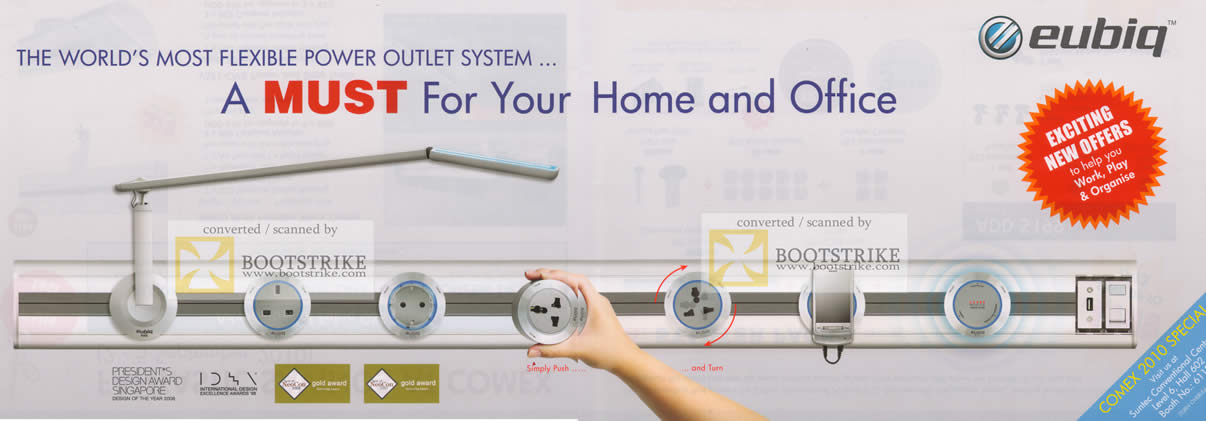 Comex 2010 price list image brochure of Eubiq Power Outlet System Cover Push Turn