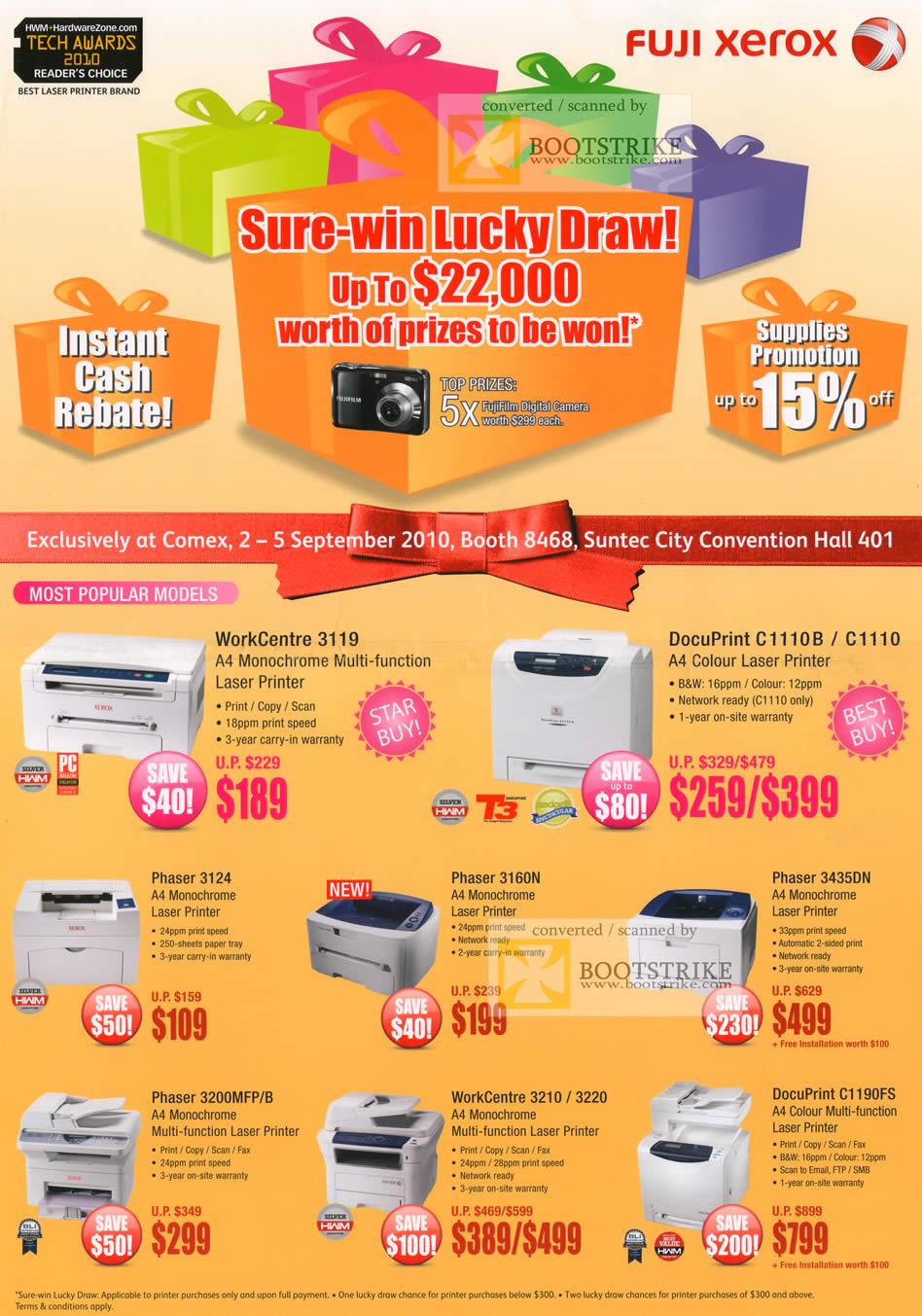 Comex 2010 price list image brochure of Fuji Xerox Printers WorkCentre 3119 3120 3220 DocuPrint C1110B C1110 C1190FS Phaser 3124 3160N 3435DN 3200MFP