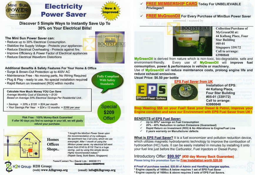 Comex 2010 price list image brochure of H2H Electricity Power Saver Mini Sun MyGreenOil EPS Fuel Saver