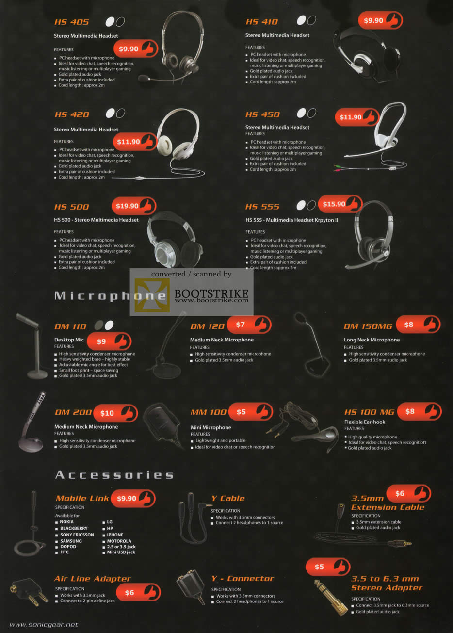 Comex 2010 price list image brochure of Leap Frog Sonic Gear Headset HS405 410 420 450 450 500 555 Microphone DM MM HS Y Cable Connector Extension