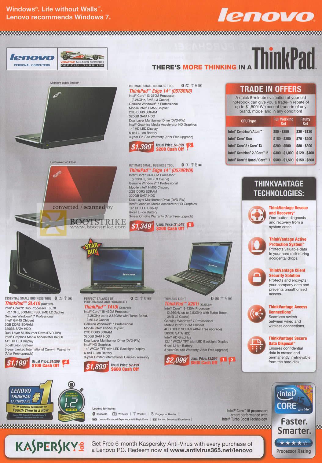 Comex 2010 price list image brochure of Lenovo Notebooks ThinkPad Edge 14 SL410 T410i X201i Thinkvantage