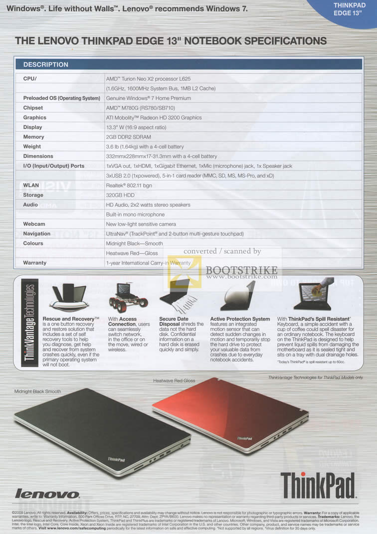 Comex 2010 price list image brochure of Lenovo Thinkpad Edge 13 Specifications Rescue Recovery Access Connection Active Protection System